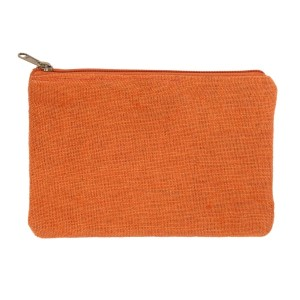"Orange burlap pouch with top zipper closure and lined inside. Approximately 7"" tall x 9"" wide. Great for monogramming!"