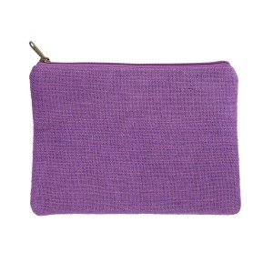 "Purple burlap pouch with top zipper closure and lined inside. Approximately 7"" tall x 9"" wide. Great for monogramming!"