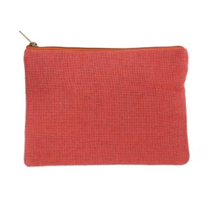 "Coral burlap pouch with top zipper closure and lined inside. Approximately 7"" tall x 9"" wide. Great for monogramming!"