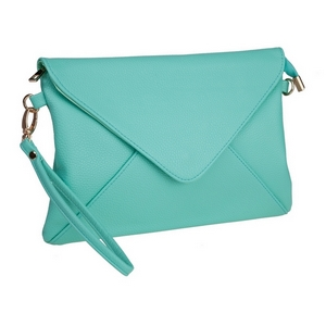 """Mint green, faux leather envelope clutch that features removable wrist and crossbody straps, top zipper closure, inside open and zippered compartments and a fold over flap with snap closure. Measures approximately 11"""" x 8"""" and is perfect for monogramming!"""
