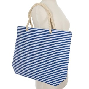 "Blue and white striped canvas tote bag with a top zipper. 45% polyester and 55% cotton. Measures 20"" x 12"" in size with a 10"" handle drop."