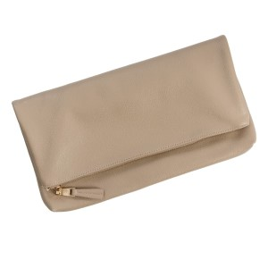 "Faux leather foldover clutch with a zipper closure and interior pockets. Measures 14.5"" x 7.5"" in size when folded."