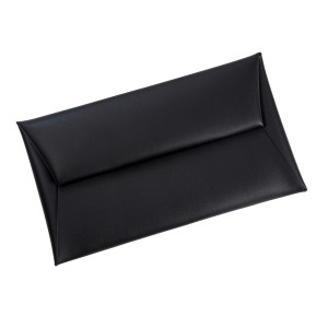 "Faux leather envelope clutch with a two snap closure. Measures 12"" x 6.5"" in size."