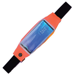 """Fluorescent fanny pack with touch screen access and reflective material. Will fit phones up to 6"""" in length."""