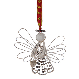 """Silver tone wire Christmas ornament in the shape of an angel. Approximately 3"""" x 4."""""""