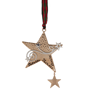 """Two tone star shaped Christmas ornament, stamped with """"Twinkle, Twinkle, Little Star."""" Approximately 3"""" x 4.5."""""""