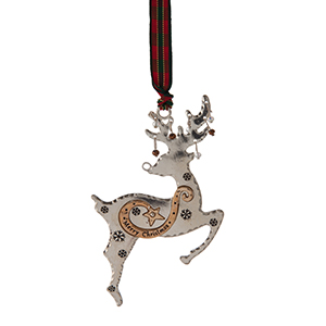 """Silver and gold tone Christmas ornament in the shape of a reindeer, stamped with """"Merry Christmas"""" and accented with faceted beads. Approximately 2.5"""" x 4."""""""