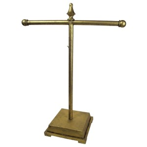 """Gold jewelry display stand. Height is adjustable. Perfect for necklaces and bracelets. 18""""x 8"""" x 34""""."""