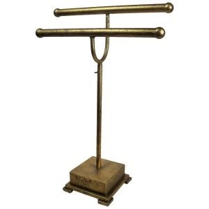 """Gold jewelry display stand. Height is adjustable. Perfect for necklaces and bracelets. 16""""x 6"""" x 28""""."""