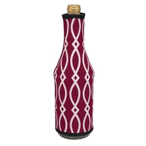 Insulated, neoprene, wine coozie with a maroon and black print. Perfect for monogramming and is machine washable.