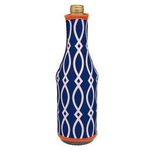 Insulated, neoprene, wine coozie with a navy blue and orange print. Perfect for monogramming and is machine washable.