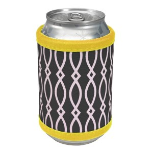 """Neoprene velcro, black and yellow coozie that fits bottle, cans, and flasks. Perfect for monogramming! Measures approximately 4"""" x 9"""" in size."""