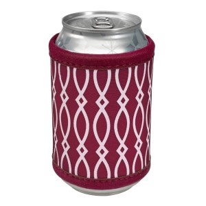 """Neoprene velcro, maroon and white coozie that fits bottle, cans, and flasks. Perfect for monogramming! Measures approximately 4"""" x 9"""" in size."""