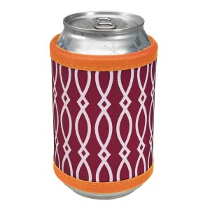 """Neoprene velcro, maroon and orange coozie that fits bottle, cans, and flasks. Perfect for monogramming! Measures approximately 4"""" x 9"""" in size."""