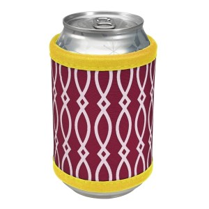 """Neoprene velcro, maroon and yellow coozie that fits bottle, cans, and flasks. Perfect for monogramming! Measures approximately 4"""" x 9"""" in size."""