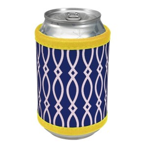 """Neoprene velcro, navy and yellow coozie that fits bottle, cans, and flasks. Perfect for monogramming! Measures approximately 4"""" x 9"""" in size."""