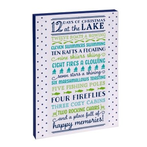 """12 Days of Christmas at the Lake"" canvas wall art featuring licensed and copyrighted lyrics and artwork. Measures approximately 12"" x 18"" x 1.5."""