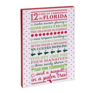 """12 Days of Christmas in Florida"" canvas wall art featuring licensed and copyrighted lyrics and artwork. Measures approximately 12"" x 18"" x 1.5."""