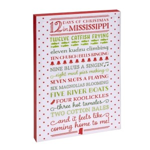 """""""12 Days of Christmas in Mississippi"""" canvas wall art featuring licensed and copyrighted lyrics and artwork. Measures approximately 12"""" x 18"""" x 1.5."""""""