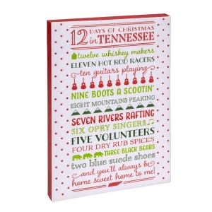 """""""12 Days of Christmas in Tennessee"""" canvas wall art featuring licensed and copyrighted lyrics and artwork. Measures approximately 12"""" x 18"""" x 1.5."""""""