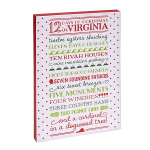 """12 Days of Christmas in Virginia"" canvas wall art featuring licensed and copyrighted lyrics and artwork. Measures approximately 12"" x 18"" x 1.5."""
