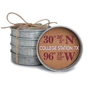 "Set of four mason jar coasters with the coordinates of College Station, Texas. Each lid measures approximately 4"" in diameter."