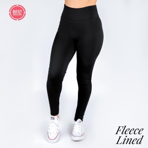 Black leggings. One size fits most, full length, fleece lined, winter weight. Offered in everyday essential colors to coordinate with long tops, skirts, or to wear underneath clothing to keep warm. 92% Polyester and 8% spandex.