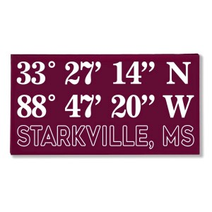 "Canvas wall art with the coordinates of Starkville, MS in your team colors to show your school pride. Canvas measures 10"" x 1.5"" x 19."""