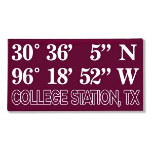 "Canvas wall art with the coordinates of College Station, TX in your team colors to show your school pride. Canvas measures 10"" x 1.5"" x 19."""