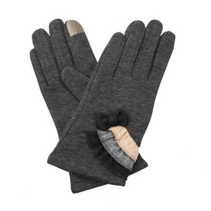 Charcoal, fleece-lined gloves features touchscreen fingertips, and are accented with a bow and ruffles.