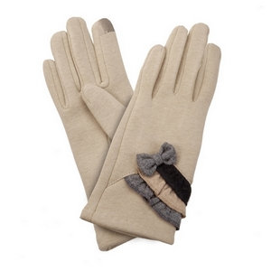 Beige, fleece-lined gloves features touchscreen fingertips, and are accented with a bow and ruffles.