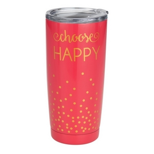 Choose Happy tumbler cup. This tumbler features: vacuum insulation, 304 grade - 18/8 stainless steel, a BPA free push seal lid, copper coated inner walls, a 20oz capacity, is sweat free, and keeps drinks cold up to 24 hours and hot up to 12 hours.