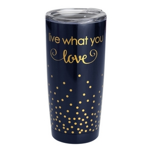 Live What You Love tumbler cup. This tumbler features: vacuum insulation, 304 grade - 18/8 stainless steel, a BPA free push seal lid, copper coated inner walls, a 20oz capacity, is sweat free, and keeps drinks cold up to 24 hours and hot up to 12 hours.