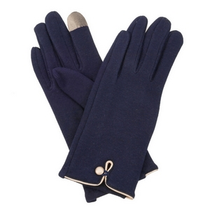 Navy blue, fleece-lined gloves features touchscreen fingertips, and are accented with a gold button detail.