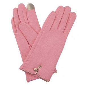 Rose pink, fleece-lined gloves features touchscreen fingertips, and are accented with a gold button detail.