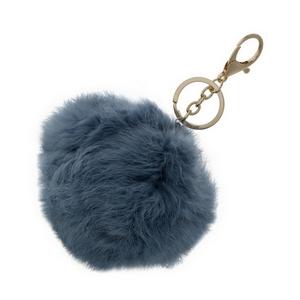 "Light blue, faux fur pom pom keychain. Approximately 4"" in diameter."