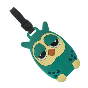 Rubber luggage tag with name and address card, in the shape of an owl.