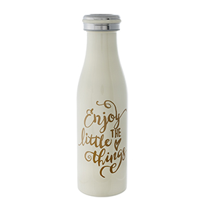 Ivory double walled, stainless steel, bottle keeps 17 ounce drinks hot or cold for us to 24 hours. Features a vacuum seal, is non-toxic, and BPA free.