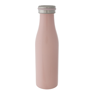 Light pink double walled, stainless steel, bottle keeps 17 ounce drinks hot or cold for up to 24 hours. Features a vacuum seal, is non-toxic, and BPA free.