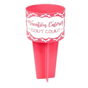 "Pink drink holder is the perfect beach accessory and is printed with ""Vacation Calories Don't Count."""