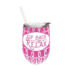"12 ounce plastic cup with lid and straw, featuring the saying ""Sip back & relax."""