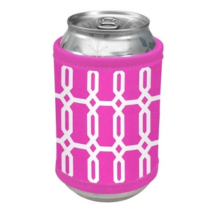 Hot pink neoprene velcro can cooler with a octagonal print.