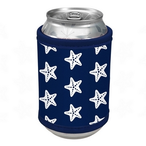 Navy blue neoprene velcro can cooler with a starfish print.