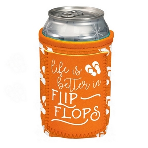 "Orange can cooler featuring a pocket and the saying ""Life is better in flip flops."""