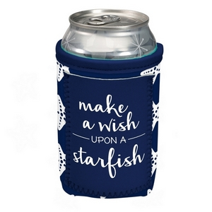 "Can cooler featuring a pocket and the saying ""Make a wish upon a starfish."""