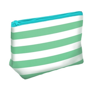 "Mint Green neoprene travel bag measuring 10"" x 7""."