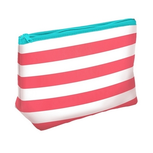 "Coral neoprene travel bag measuring 10"" x 7"" Perfect for monogramming."