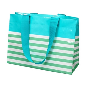 "Woven polypropylene tote bag with two handles, featuring a white and mint green stripe pattern. Measures approximately 18"" x 13"" in size."