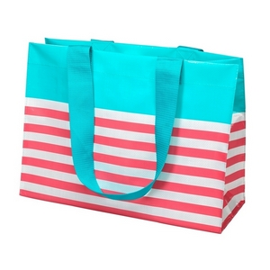 "Woven polypropylene tote bag with two handles, featuring a white and coral stripe pattern. Measures approximately 18"" x 13"" in size."