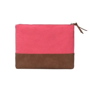 "Coral canvas travel bag with a leather bottom measuring 12"" x 9"". Perfect for monogramming."